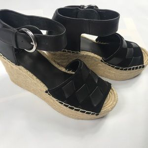 Marc Fisher Adalla Black Leather Wedge 8.5 NEW ✨✨